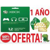 Xbox Live Gold Tarjeta 1 Año Xbox One Y 360 / Mundial Online