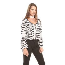 Saints Clothes Blusa Ml Zebra Acampanada Detalles Botones