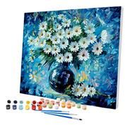 Pintura Numerada Vaso De Margaridas Abstrato 40x50cm