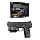 Pistola Chica Balín 6mm Mira Laser Linterna