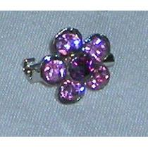 M179 Prendedor Flor De Strass En Color Rosa Y Bordo