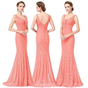 Vestido color coral largo de encaje