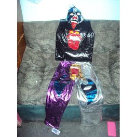 Traje Pantalon Chaleco Mascara De Luchador Psycho Clown Niño
