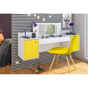 Penteadeira Camarim Atração Branco/amarelo E Cadeira Charles