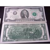 Billete Two 2 Dollar Billete De La Suerte Nuevo Crisp