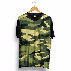 Camiseta Camuflada Exercito Verde Militar Camisa Blusa Swag