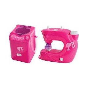 Kit 5 Mini Utilidades Barbie Máquina De Lavar E Costurar