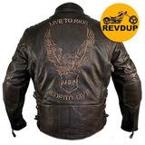 Jaqueta Casaco 100%couro Bufalo Moto Marrom Live Ride Harley