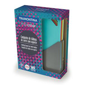 Juego De 5 Tablas Plásticas Con Soporte Tramontina Mix Color