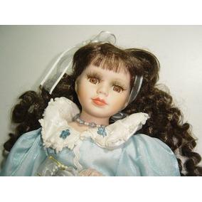 Muñeca De Porcelana Y Trapo Vestido Color Azul
