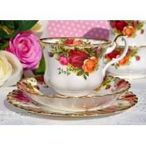 Trio De Té, Porcelana Royal Albert - Old Country Roses