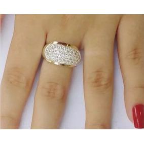 Promoção Anel Feminino Prata 950 Maciça Com Zircônias Ouro