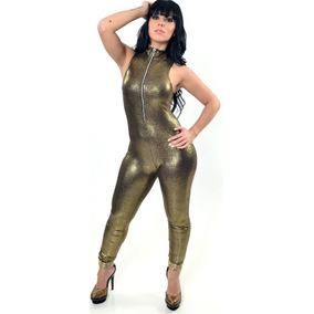 Macacão Malha Dourada Elástica Brilhante Zíper Metal 6549