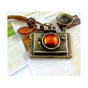 Colar Vintage Couro Câmera Fótografo Fotografia Foto