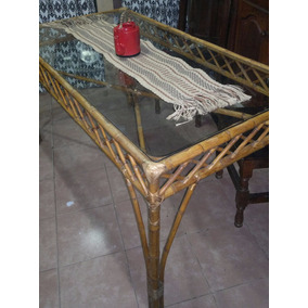 Mesa De Comedor O Quincho De Caña Mimbre Y Vidrio