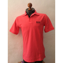 Camisa Playera Tipo Polo Hugo Boss Color Salmon Casual