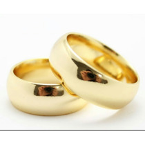Aliança Par Tradicional Noivado Moeda 8mm Antiga Cor Ouro