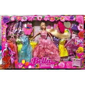 Boneca Bella Fashion Doll Acessorios E Vestidos Frete Gratis