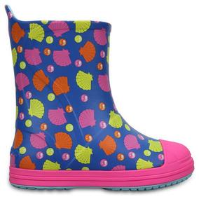 Bota De Lluvia Infantil Crocs Bump It Graphic Bo Rosa