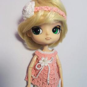 Blusa & Tiara Crochê Salmon Bonecas Blythe, Barbie, Pullip