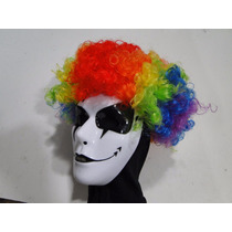 Mascara Arlequina Com Peruca Palhaço Haloween Terror Horror