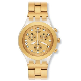 Swatch Mens Svck4032g Stainless Steel Analog Watch With Gold