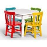Mesa Infantil De Madeira Quadrada Com 2 Cadeiras Coloridasds