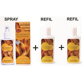Reflexos Naturais P/ Cabelos Biondina Kit 1 Spray + 2 Refil