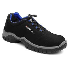 Sapato De Segurança Microfibra Estival Energy Preto E Azul