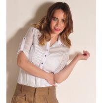 Camisa Rayada Manga Tres Cuartos Blanca Y Celeste Giacca