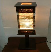Luminária Abajur De Mesa Sala Quarto Rustica Chenile