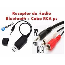 Receptor Música Bluetooth Auxiliar Usb Carro Casa + Cabo Rca