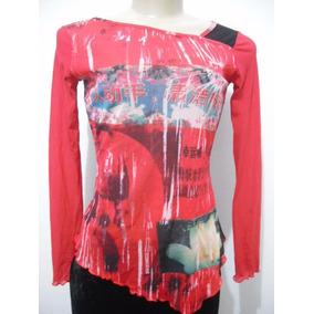 Blusa Estampada Vermelho E Preto Leve Transparencia