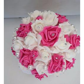 Ramo Novia Blanco Rosa Oscuro Xv Años Cristales 25cm
