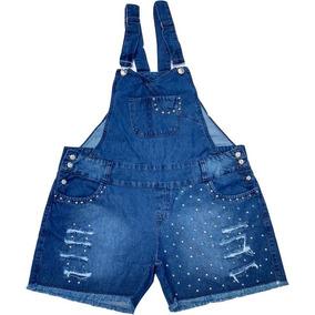 Jardineira Short Macacão Jeans Plus Size Até Tam. 56