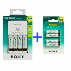 Kit Pilhas Recarregáveis Aaa + Carregador Sony