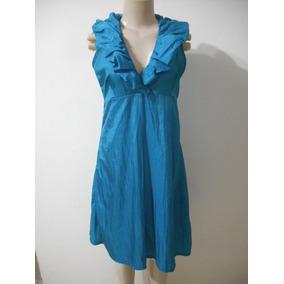Vestido Tafeta Azul Tam P Penellope Usado Bom Estado