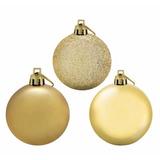 Kit 12 Bolas De Natal Decoradas Mista Dourado 5cm - Magizi