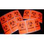 12 Stickers Biohazard Etiqueta Etiqueta Neón Naranja 2 X 3
