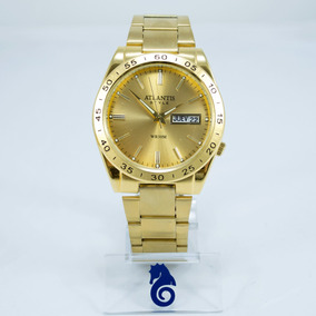Relógio Masculino Dourado Atlantis Style Original + Caixa