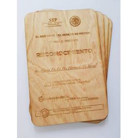 14 Reconocimientos, Diploma Grabado Láser En Madera 20x20cm