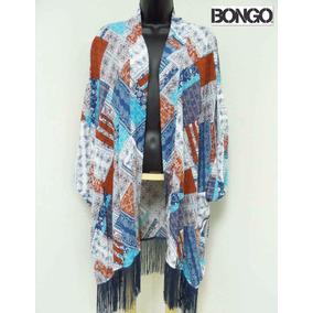 Saco Bongo 3x Kimono Parche Azul Tinto Saco Chal Tunica Xxxl