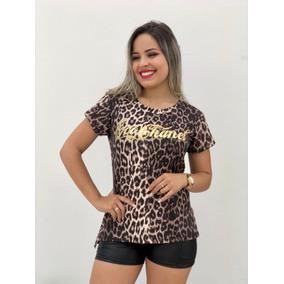 Blusas Luxo T-shirt Gola Alta Choker Oncinha Moda Blogueira
