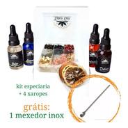 Gin Kit 9 Especiarias + 4 Xaropes Grátis 1 Mexedor Envio 24h