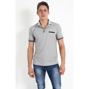 Playera Tipo Polo Hombre Color  Gris Resalte Bolsa