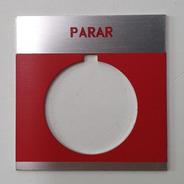 Placa Ge Roja Leyenda Parar P/botón Pulsador Cr104pxn1bp087