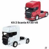 Kit 2 Caminhao Colecao Scania R730 V8 1/32 Die Cast