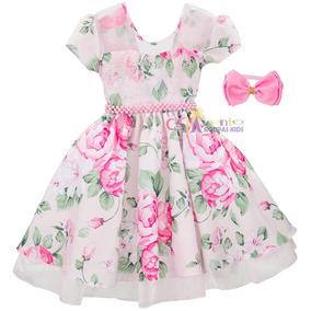 Vestido Festa Infantil Flora Daminha Luxo Com Tiara 4 Ao 14
