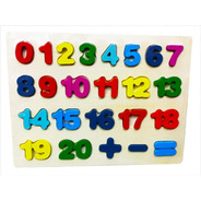 Puzzle Tablero Encastre Numeros Madera Relieve M236 Bigshop