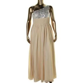 Vestido De Fiesta Largo Dorado Gasa Un Hombro Xl. Serenity